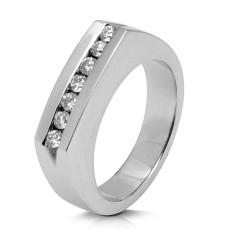 Media alianza carril de oro blanco 18Kt con diamantes (AN110707)