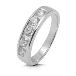 Media alianza carril de oro blanco 18Kt con diamantes (AN110841)