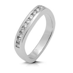 Media alianza carril de oro blanco 18Kt con diamantes (AN112353)