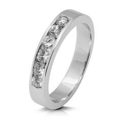 Media alianza carril de oro blanco 18Kt con diamantes (AN112453)