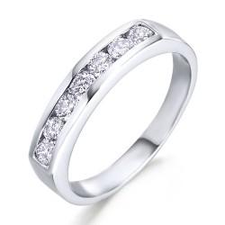Media carril de oro blanco 18Kt con diamantes (AN112463)