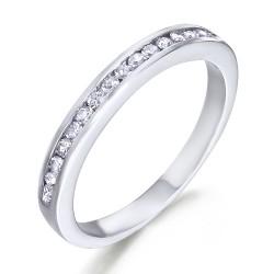 Media alianza carril de oro blanco 18Kt con diamantes (AN112465)