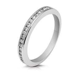 Media alianza carril de oro blanco 18 Kt con diamantes (AN119586)