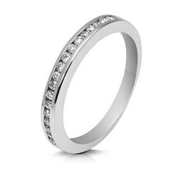 Media alianza carril de oro blanco 18 Kt con diamantes (AN119586)
