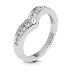 Media alianza carril de oro blanco 18Kt con diamantes (AN119592)