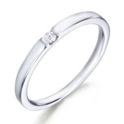 Solitario de oro blanco 18Kt con diamante (AN123971)