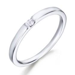 Solitario de oro blanco 18Kt con diamante (AN123971)
