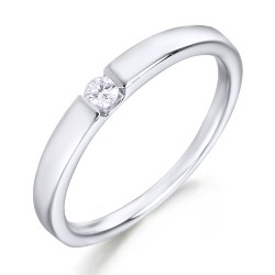 Solitario de oro blanco 18 Kt con diamante (AN123972)