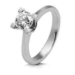Solitario de oro blanco 18Kt con diamante (AN125780)