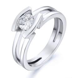 Solitario de oro blanco 18Kt con diamante (AN125821)