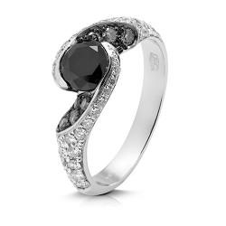 anillo diseño de oro blanco 18 Kt con diamantes (AN126150)