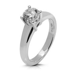 Solitario de oro blanco 18Kt con diamante (AN126183)