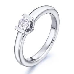 Solitario de oro blanco 18Kt con diamantes (AN126245)