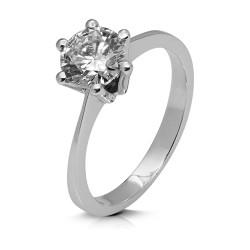 Solitario de oro blanco 18 Kt con diamante (AN126284)