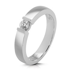 Solitario de oro blanco 18 Kt con diamante (AN126574)