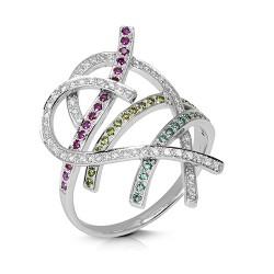 Anillo diseño de oro blanco 18 Kt con diamantes (AN1401990)
