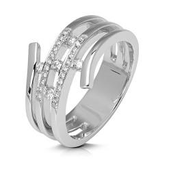 Anillo diseño de oro blanco 18 Kt con diamantes (AN146613)