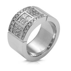 Anillo diseño de oro blanco 18Kt con diamantes (AN148119)
