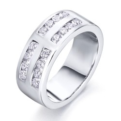 Media alianza doble carril de oro blanco 18Kt con diamantes (AN1484153)