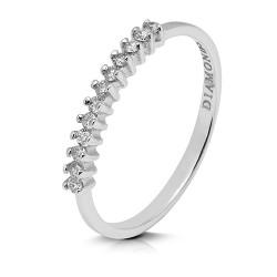 Media alianza grapas de oro blanco 18 Kt con diamantes (AN1484507)