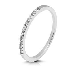Media alianza grapas de oro blanco 18 Kt con diamantes (AN1484513)