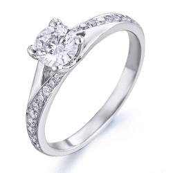 Anillo diseño de oro blanco 18Kt con diamantes (AN148492)