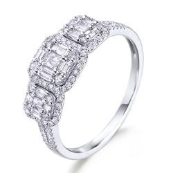 Anillo diseño de oro blanco 18Kt con diamantes y trapecios (AN148524)