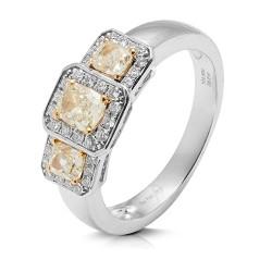anillo diseño de oro blanco 18 Kt con diamantes (AN148583)