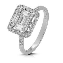 Anillo diseño de oro blanco 18 Kt con diamantes y baguettes (AN148659)
