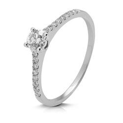 Anillo diseño de oro blanco 18 Kt con diamantes (AN148793)