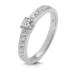 Anillo diseño de oro blanco 18 Kt con diamantes (AN148808)