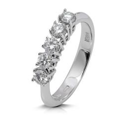 Media alianza grapas de oro blanco 18Kt con diamantes (AN1700079)