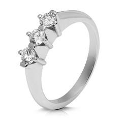 Media alianza grapas de oro blanco 18 Kt con diamantes (AN1700126)