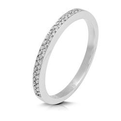 Media alianza grapas de oro blanco 18 Kt con diamantes (AN1700227)