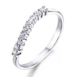 Media alianza de grapas de oro blanco 18Kt con diamantes (AN1700255)