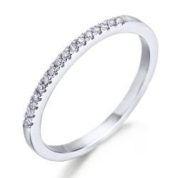 Media alianza grapas de oro blanco 18Kt con diamantes (AN1700261)
