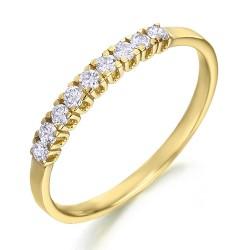 Media alianza grapas de oro amarillo 18Kt con diamantes (AN1700262)