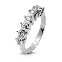 Media alianza grapas de oro blanco 18Kt con diamantes (AN1700285)