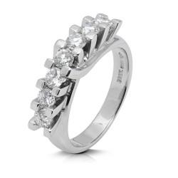 Media alianza grapas de oro blanco 18 Kt con diamantes (AN1700286)