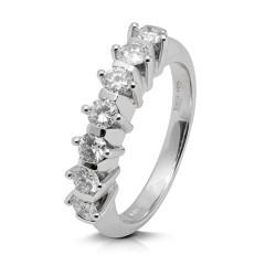 Media alianza grapas de oro blanco 18Kt con diamantes (AN1700294)