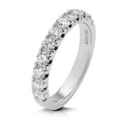 Media alianza grapas de oro blanco 18 Kt con diamantes (AN1700386)