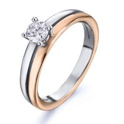 Solitario de oro combinado 18Kt con diamante (AN3200529)