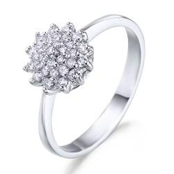 Rosetón de oro blanco 18Kt con diamantes (AN330115)