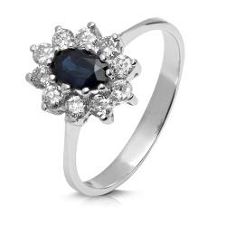 Rosetón de oro blanco 18 Kt con diamantes (AN330133)