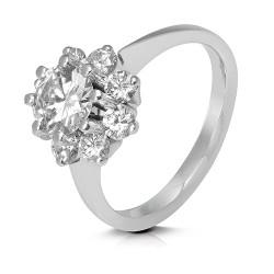 Rosetón de oro blanco 18 Kt con diamantes (AN330137)