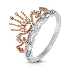 Anillo diseño de oro combinado 18 Kt con diamantes (AN3402083)