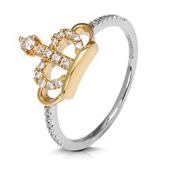 Anillo diseño de oro combinado 18 Kt con diamantes (AN3402087)