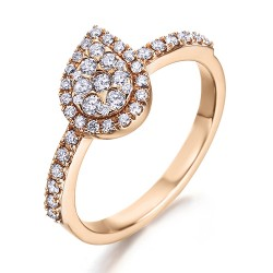 Anillo diseño de oro rosa 18Kt con diamantes (AN500105)