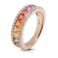 anillo diseño de oro rosa 18 Kt con diamantes (AN500117)