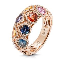 anillo diseño de oro rosa 18 Kt con diamantes y zafiros (AN500121)